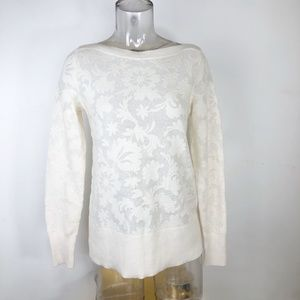 EUC Ann Taylor Floral Ivory Wool Sweater Womens Sm